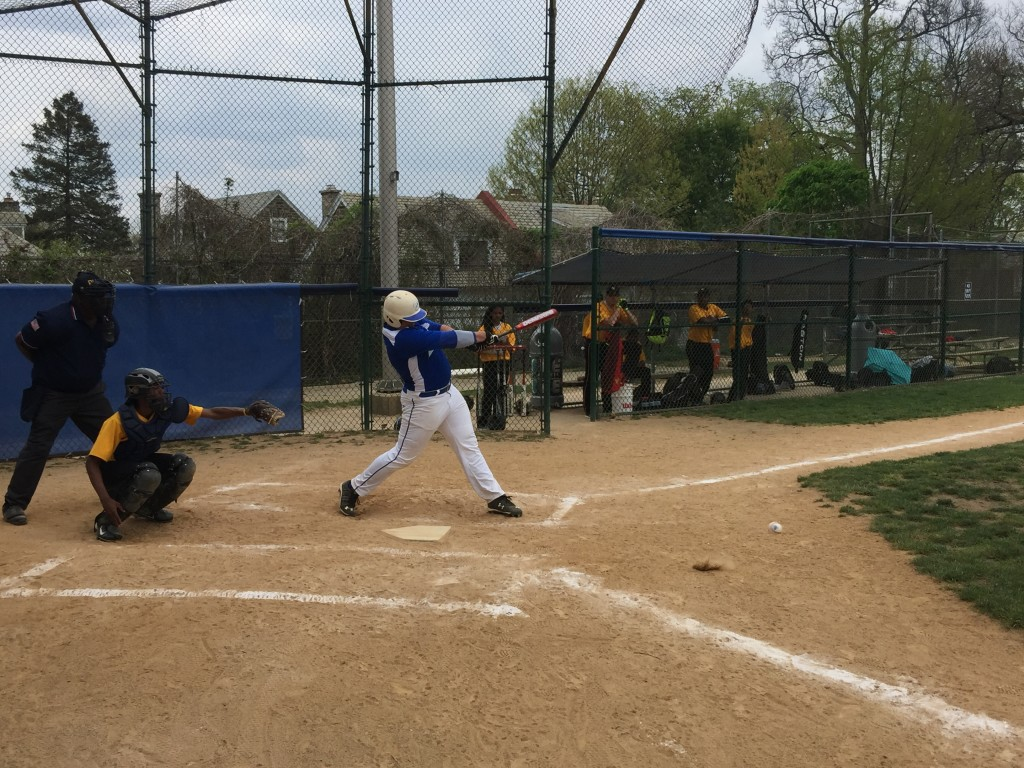 Kevin Courtney swinging at and hitting a pitch in the bottom of the 1st inning